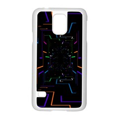 Seamless 3d Animation Digital Futuristic Tunnel Path Color Changing Geometric Electrical Line Zoomin Samsung Galaxy S5 Case (white)