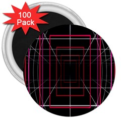 Retro Neon Grid Squares And Circle Pop Loop Motion Background Plaid 3  Magnets (100 Pack) by Mariart