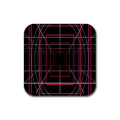 Retro Neon Grid Squares And Circle Pop Loop Motion Background Plaid Rubber Square Coaster (4 Pack)  by Mariart