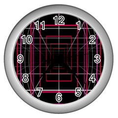 Retro Neon Grid Squares And Circle Pop Loop Motion Background Plaid Wall Clocks (silver)  by Mariart