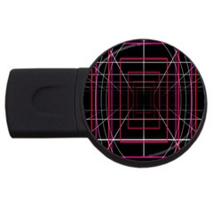 Retro Neon Grid Squares And Circle Pop Loop Motion Background Plaid Usb Flash Drive Round (2 Gb)