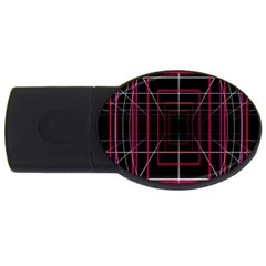 Retro Neon Grid Squares And Circle Pop Loop Motion Background Plaid Usb Flash Drive Oval (2 Gb) by Mariart