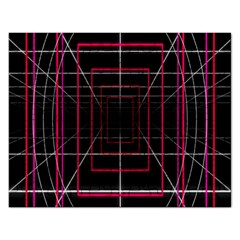 Retro Neon Grid Squares And Circle Pop Loop Motion Background Plaid Rectangular Jigsaw Puzzl by Mariart