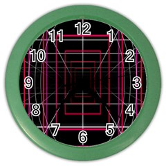 Retro Neon Grid Squares And Circle Pop Loop Motion Background Plaid Color Wall Clocks by Mariart