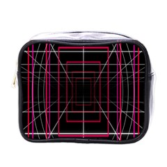 Retro Neon Grid Squares And Circle Pop Loop Motion Background Plaid Mini Toiletries Bags by Mariart