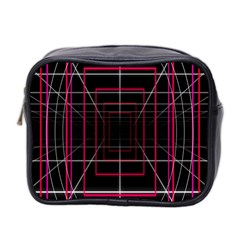 Retro Neon Grid Squares And Circle Pop Loop Motion Background Plaid Mini Toiletries Bag 2 Side by Mariart