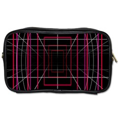 Retro Neon Grid Squares And Circle Pop Loop Motion Background Plaid Toiletries Bags by Mariart