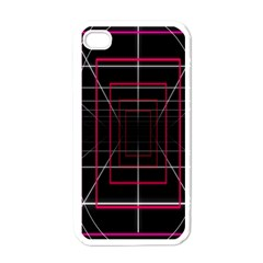 Retro Neon Grid Squares And Circle Pop Loop Motion Background Plaid Apple Iphone 4 Case (white) by Mariart