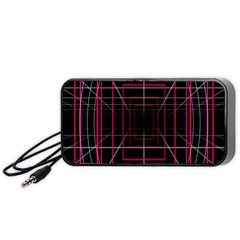 Retro Neon Grid Squares And Circle Pop Loop Motion Background Plaid Portable Speaker (black) by Mariart