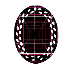 Retro Neon Grid Squares And Circle Pop Loop Motion Background Plaid Oval Filigree Ornament (two Sides) by Mariart