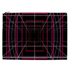Retro Neon Grid Squares And Circle Pop Loop Motion Background Plaid Cosmetic Bag (xxl)  by Mariart