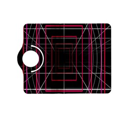 Retro Neon Grid Squares And Circle Pop Loop Motion Background Plaid Kindle Fire Hd (2013) Flip 360 Case by Mariart
