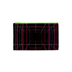 Retro Neon Grid Squares And Circle Pop Loop Motion Background Plaid Cosmetic Bag (xs) by Mariart