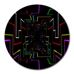 Seamless 3d Animation Digital Futuristic Tunnel Path Color Changing Geometric Electrical Line Zoomin Round Mousepads