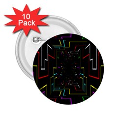 Seamless 3d Animation Digital Futuristic Tunnel Path Color Changing Geometric Electrical Line Zoomin 2 25  Buttons (10 Pack)  by Mariart
