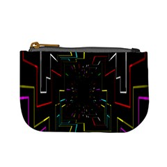 Seamless 3d Animation Digital Futuristic Tunnel Path Color Changing Geometric Electrical Line Zoomin Mini Coin Purses by Mariart