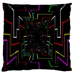 Seamless 3d Animation Digital Futuristic Tunnel Path Color Changing Geometric Electrical Line Zoomin Large Cushion Case (two Sides) by Mariart