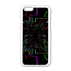 Seamless 3d Animation Digital Futuristic Tunnel Path Color Changing Geometric Electrical Line Zoomin Apple Iphone 6/6s White Enamel Case by Mariart