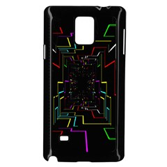 Seamless 3d Animation Digital Futuristic Tunnel Path Color Changing Geometric Electrical Line Zoomin Samsung Galaxy Note 4 Case (black)