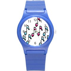 Sound Advice Royalty Free Music Blue Red Round Plastic Sport Watch (s) by Mariart