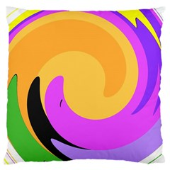 Spiral Digital Pop Rainbow Large Cushion Case (two Sides) by Mariart