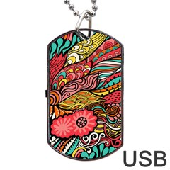 Seamless Texture Abstract Flowers Endless Background Ethnic Sea Art Dog Tag Usb Flash (two Sides)