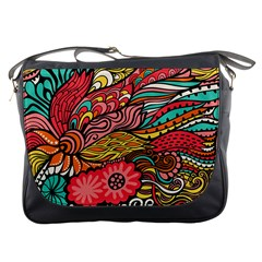 Seamless Texture Abstract Flowers Endless Background Ethnic Sea Art Messenger Bags by Mariart