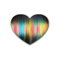 Sound Colors Rainbow Line Vertical Space Rubber Coaster (heart)  by Mariart