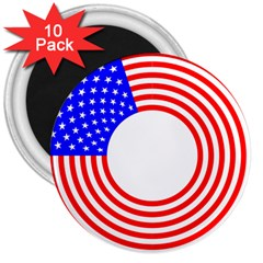 Stars Stripes Circle Red Blue 3  Magnets (10 Pack)  by Mariart