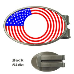 Stars Stripes Circle Red Blue Money Clips (oval)  by Mariart