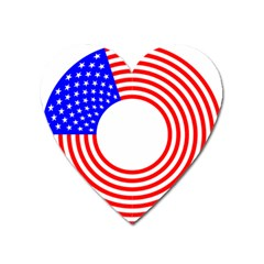 Stars Stripes Circle Red Blue Heart Magnet by Mariart