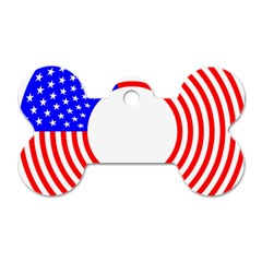 Stars Stripes Circle Red Blue Dog Tag Bone (two Sides) by Mariart