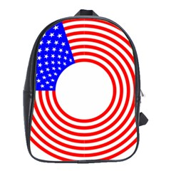 Stars Stripes Circle Red Blue School Bag (large) by Mariart