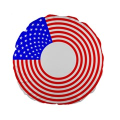 Stars Stripes Circle Red Blue Standard 15  Premium Flano Round Cushions by Mariart