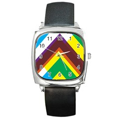 Triangle Chevron Rainbow Web Geeks Square Metal Watch by Mariart