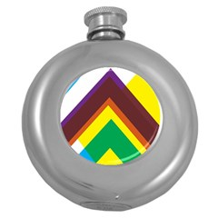 Triangle Chevron Rainbow Web Geeks Round Hip Flask (5 Oz) by Mariart