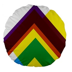 Triangle Chevron Rainbow Web Geeks Large 18  Premium Round Cushions by Mariart