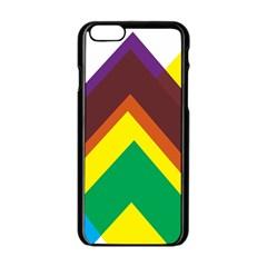 Triangle Chevron Rainbow Web Geeks Apple Iphone 6/6s Black Enamel Case by Mariart