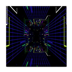 Seamless 3d Animation Digital Futuristic Tunnel Path Color Changing Geometric Electrical Line Zoomin Face Towel