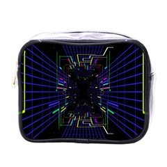 Seamless 3d Animation Digital Futuristic Tunnel Path Color Changing Geometric Electrical Line Zoomin Mini Toiletries Bags by Mariart