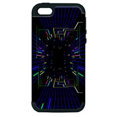 Seamless 3d Animation Digital Futuristic Tunnel Path Color Changing Geometric Electrical Line Zoomin Apple Iphone 5 Hardshell Case (pc+silicone) by Mariart