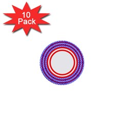 Stars Stripes Circle Red Blue Space Round 1  Mini Buttons (10 Pack)  by Mariart