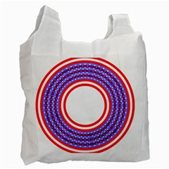 Stars Stripes Circle Red Blue Space Round Recycle Bag (one Side) by Mariart