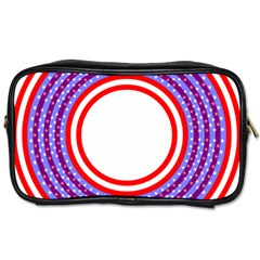 Stars Stripes Circle Red Blue Space Round Toiletries Bags by Mariart