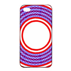 Stars Stripes Circle Red Blue Space Round Apple Iphone 4/4s Seamless Case (black) by Mariart