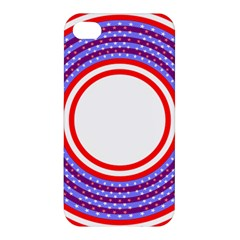 Stars Stripes Circle Red Blue Space Round Apple Iphone 4/4s Premium Hardshell Case by Mariart