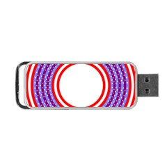 Stars Stripes Circle Red Blue Space Round Portable Usb Flash (one Side) by Mariart