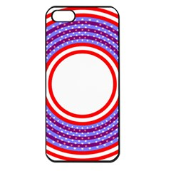 Stars Stripes Circle Red Blue Space Round Apple Iphone 5 Seamless Case (black) by Mariart