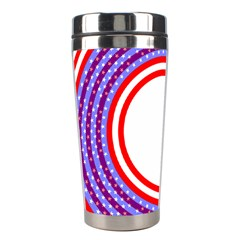 Stars Stripes Circle Red Blue Space Round Stainless Steel Travel Tumblers by Mariart