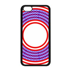Stars Stripes Circle Red Blue Space Round Apple Iphone 5c Seamless Case (black) by Mariart